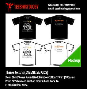 Inventive Kid Silkscreen Printing of Black Bamboo Cotton T-Shirt