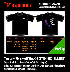 six color silkscreen print of nanyang polytechnic nursing tshirt