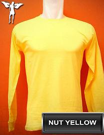 Long Sleeved Nut Yellow T-Shirt, kaos lengan panjang kuning kenari