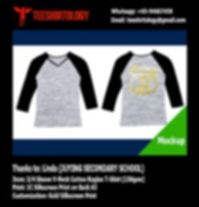 Juying Secondary Heather Grey Cotton 3/4 Sleeve V-Neck Raglan Shirt Screenprinting