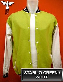 Stabilo Green/White Varsity Jacket, baseball jacket, college jacket