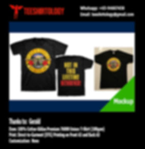 GNR Guns N Roses Band Black Cotton Gildan Premium 76000 T-Shirt DTG Print