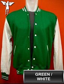 Green/White Varsity Jacket, baseball jacket, college jacket