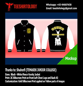 VJC Victoria JC Black Fleece Varsity Jacket with Gold Silkscreen Printing