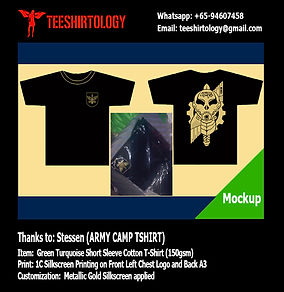 Gold Silkscreen of Black Army Camp Cotton T-Shirt