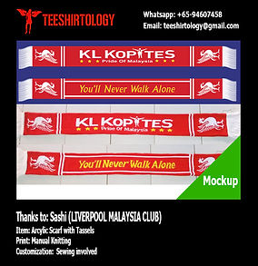 Liverpool Malaysia Knit Fooball Scarf with Tassel