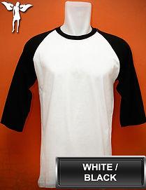 Raglan White/Black T-Shirt, kaos raglan putih/hitam