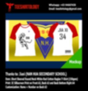 Nan Hua Class Raglan Cotton T-Shirt Silkscreen Printing with Custom Name and Number