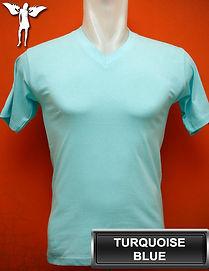 Turquoise Blue V-Neck t-shirt, kaos biru turkis