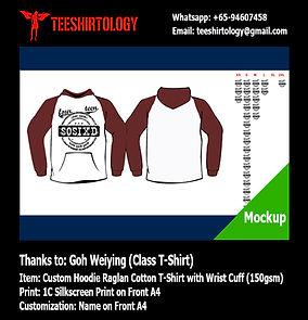 Class Cotton Hood Raglan T-Shirt Silkscreen Printing with Custom Name