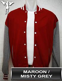Maroon/MistyGrey Varsity Jacket, baseball jacket, college jacket