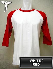 Raglan White/Red T-Shirt, kaos raglan putih/merah