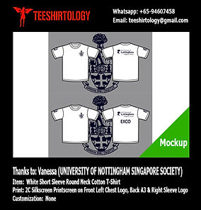 University of Nottingham Singaore White Cotton T-Shirt Silkscreen Printing