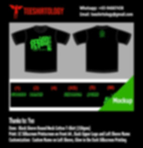 Glow in the Dark Silkcreen Print of Black Cotton T-Shirt with Custom Name