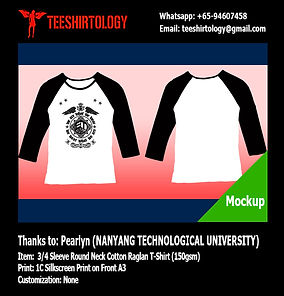 NTU 3/4 Sleeve Cotton Raglan Shirt Silkscreen Printing