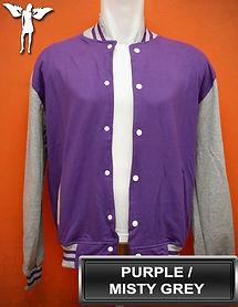 Purple/Misty Grey Varsity Jacket, baseball jacket, college jacket