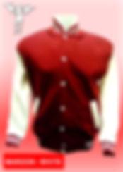 Digital Printing, Silkscreen Printing, Embroidery, Maroon White Baseball Jacket, Maroon White Fleece Varsity Jacket