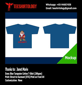 DTG A4 Print of Dark Blue Cotton T-Shirt