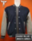 Dark Blue/Misty Grey Varsity Jacket, baseball jacket, college jacket