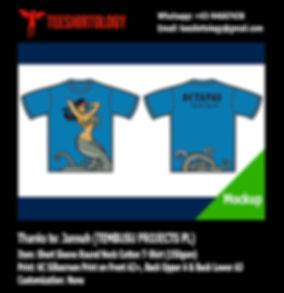 Tembusu Project Octapas Silkscreen Print of Blue Turquoise Cotton T-Shirt