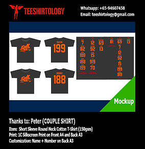Dark Grey Cotton Couple T-Shirt Silkscreen Print with Custom Name and Number