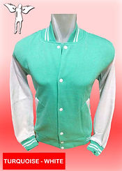 Digital Printing, Silkscreen Printing, Embroidery, Turquoise White Baseball Jacket, Turquoise White Fleece Varsity Jacket