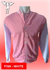 Digital Printing, Silkscreen Printing, Embroidery, Pink White Baseball Jacket, Pink White Fleece Varsity Jacket