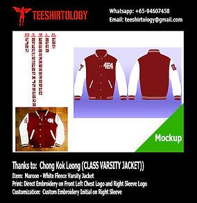 Class Maroon Fleece Varsity Jacket Embroidery with Custom Number