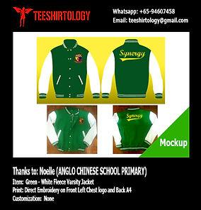 ACS Anglo Chinese School Green Fleece Varsity Jacket Embroidery
