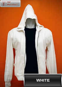 White Hooded Sweater, sweater hoodie putih half zipper