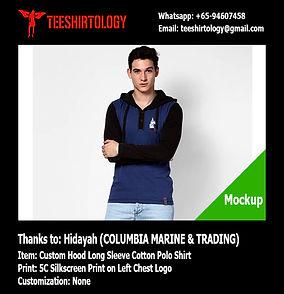 Columbia Marine Custom Long Sleeve Hood Polo Shirt Silkscreen Printing