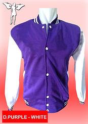 Digital Printing, Silkscreen Printing, Embroidery, Dark Purple White Baseball Jacket, Dark Purple White Fleece Varsity Jacket