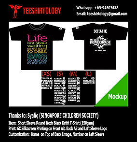 Singapore Children's Society Black Cotton Class T-Shirt with Custom Name Silkscreen Printing