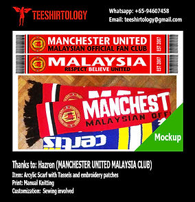Manchester United Malaysia Knit Football Scarf with Tassel