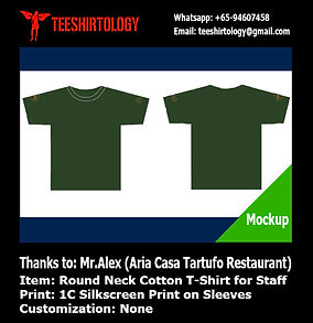 One Color Screenprint of Round Neck TShirt for Restaurant Staff
