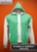 Stabilo Green/White Hooded Varsity Jacket, baseball jacket, college jacket