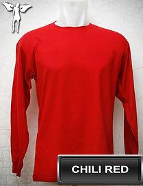 Long Sleeved Chili Red t-shirt, kaos lengan panjang merah cabe