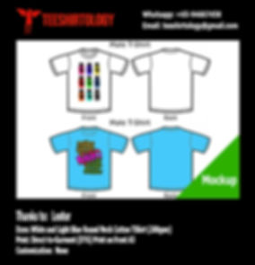 DTG A3 Print of White and Light Blue Cotton T-Shirts