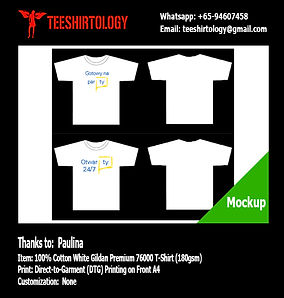 DTG A4 Print of White Cotton Gildan Premium 76000 T-Shirt