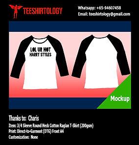 DTG A4 Print of 3/4 Sleeve White Cotton Raglan Shirt