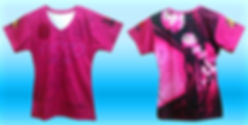 all over print v-neck ladies tee, dye sublimation tee, no minimum quantity