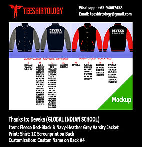 one color screenprint of Global Indian Varsity Jacket with Custom Name