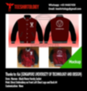SUTD Singapore University of Technology and Development Maroon Fleece Varsity Jacket Embroidery
