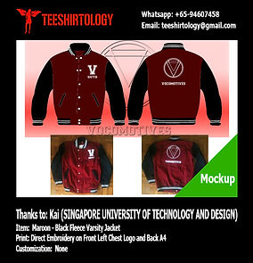 SUTD Singapore University of Technology and Development Maroon Fleece Varsity Jacket Embroidery