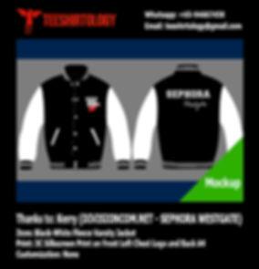 Divisioncom Sephora Silkscreenprinted Black Fleece Varsity Jacket