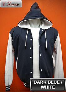 Dark Blue/White Hooded Varsity Jacket, baseball jacket, college jacket