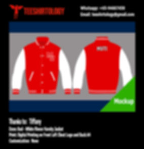 Digital Printing of Red Fleece Varsity Jacket