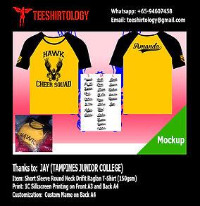 Tampines JC Cheer Team Raglan Drifit Shirt Screenprinting