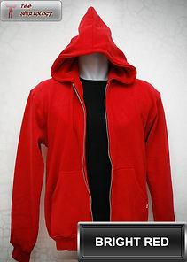 Bright Red Hooded Sweater, sweater hoodie merah terang half zipper