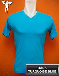 Dark Turquoise Blue V-Neck T-Shirt, kaos biru turkis tua